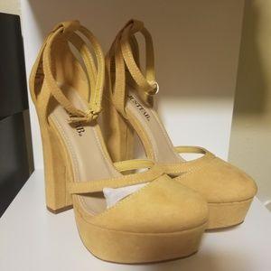 Justfab mustard yellow heels